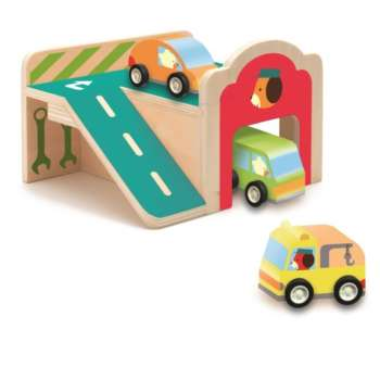 Mașinuțe și Mini Garaj din lemn, Djeco
