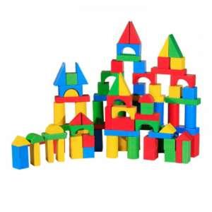 Cuburi de construit din lemn, colorate (100 Buc.)