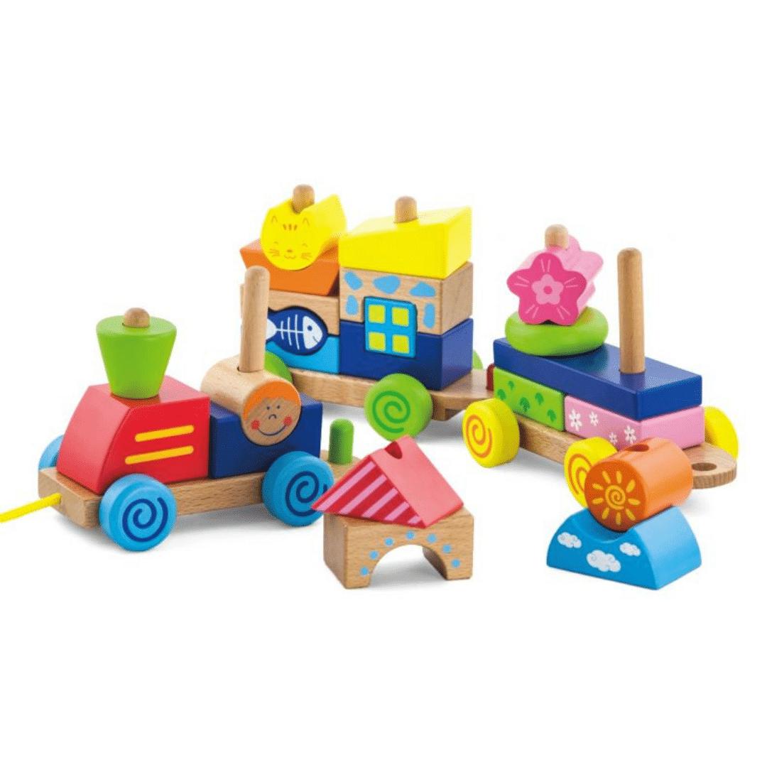 Jucării lemn, Trenuleț modular colorat