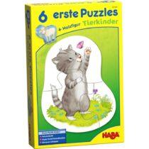6 Puzzle - uri pentru copii, Pui de animale, Haba