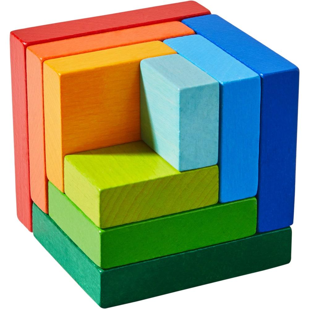 Cuburi din lemn de aranjat Curcubeu 3D, Haba detalii 2
