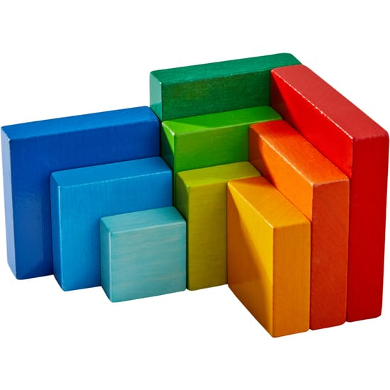 Cuburi din lemn de aranjat Curcubeu 3D, Haba detalii 3