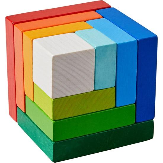Cuburi din lemn de aranjat Curcubeu 3D, Haba detalii
