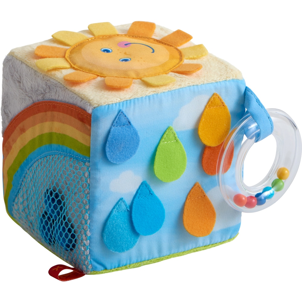 Jucarie bebelusi, Cub textil Curcubeu, Haba detalii 2