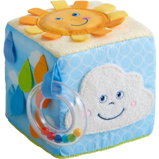 Jucarie bebelusi, Cub textil Curcubeu, Haba detalii