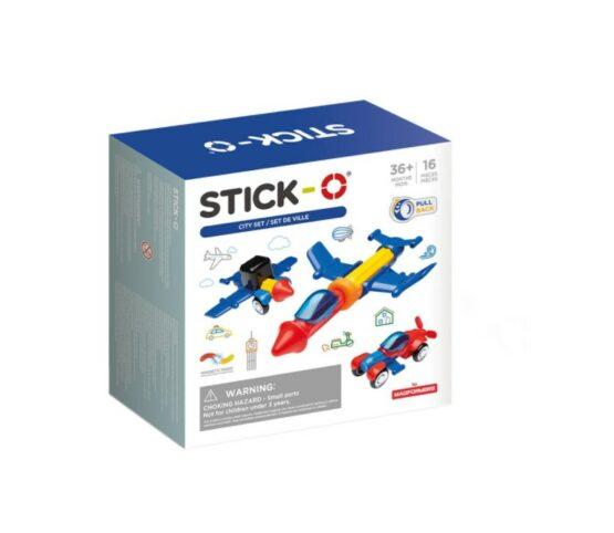 Set magnetic de construit Stick-O Vehicule, 16 piese