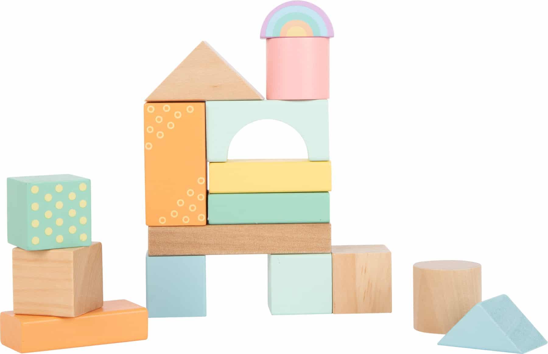 Cuburi din lemn de construit, culori pastel detalii