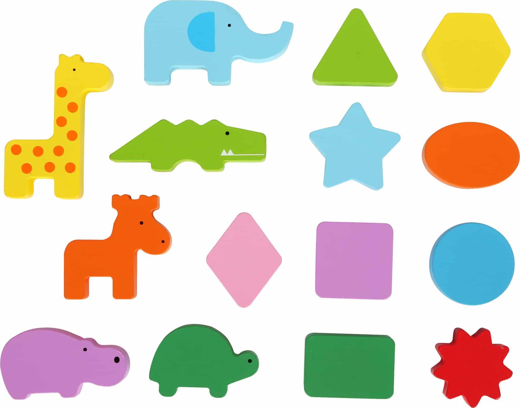 Figurine si forme din lemn Joc de recunoaștere a formelor, Cutia cu animale