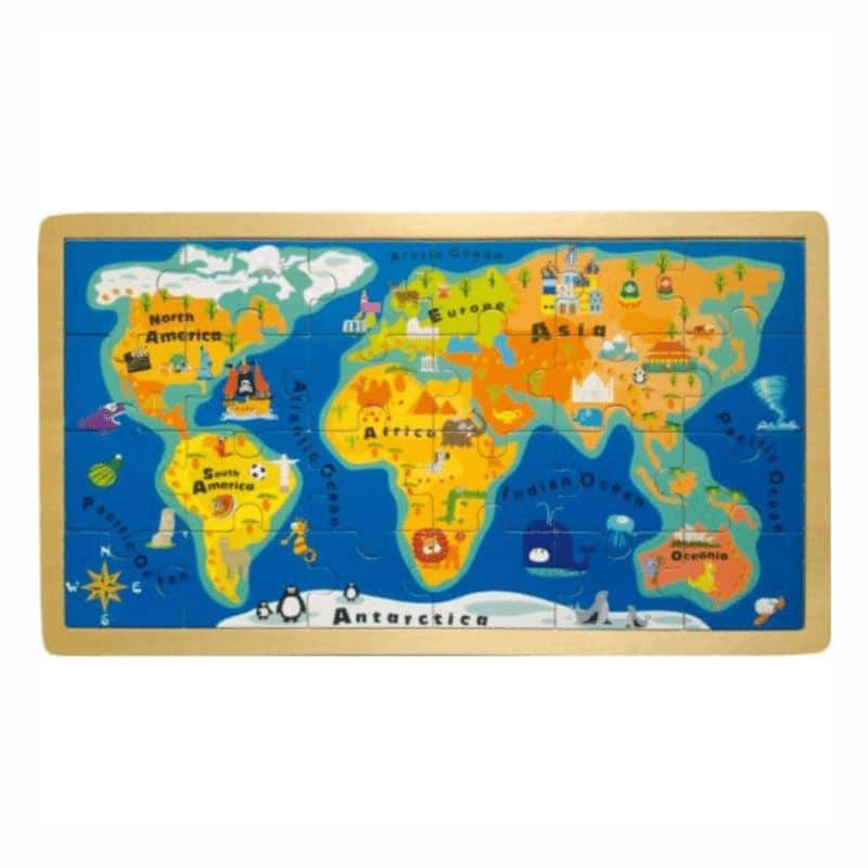 Harta Lumii, Puzzle din lemn cu ramă
