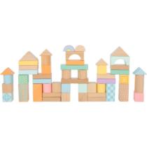 Cuburi din lemn de construit, culori pastel