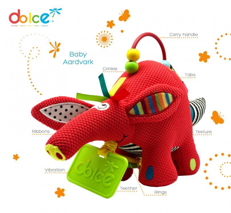 Archie, pui de tapir, jucărie bebeluși senzorială, Dolce elemente