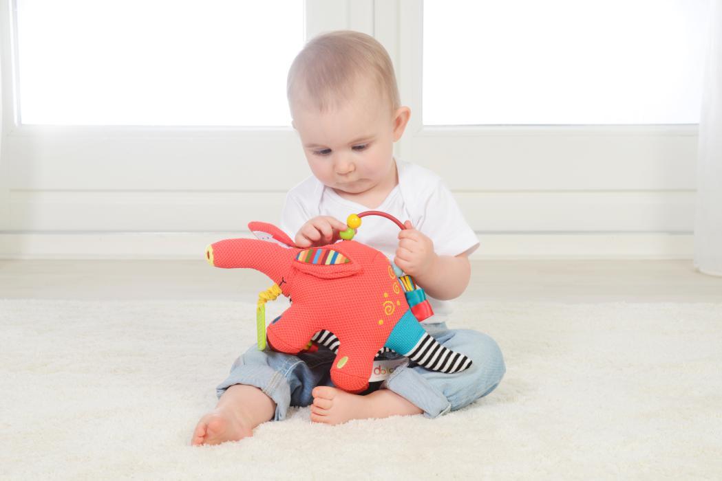 Bebelus se joaca cu Archie, pui de tapir, Dolce