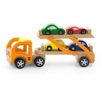 Camion cu remorca si 4 masinute lemn