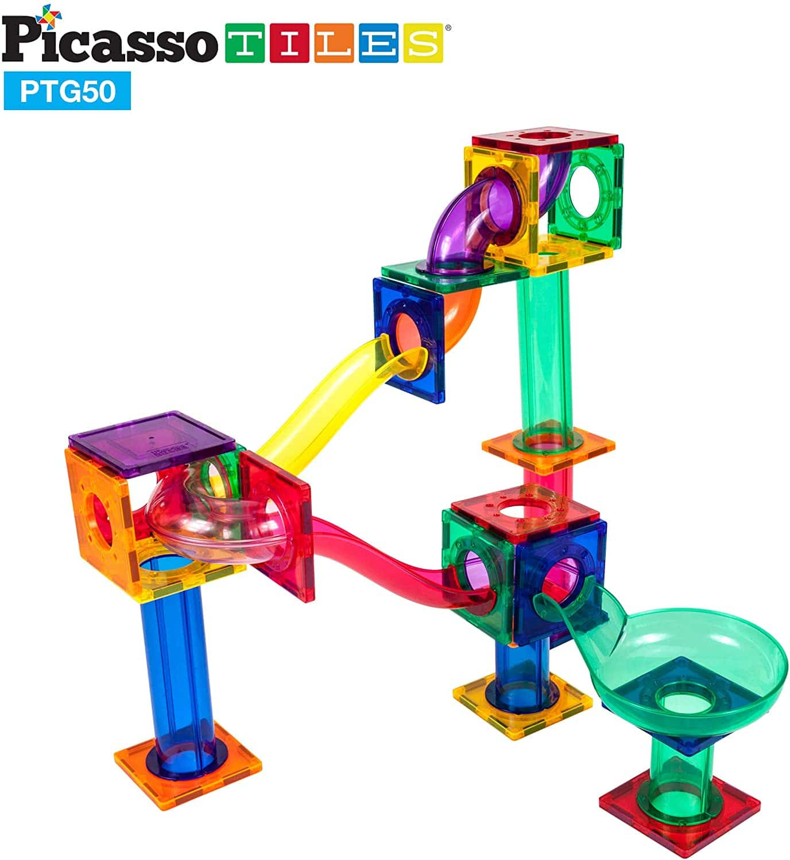 PicassoTile Traseu magnetic cu bile (Marble Run) 50 de piese structuri