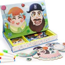 PicassoTiles, Jocul fețelor, 102 piese magnetice, Puzzle