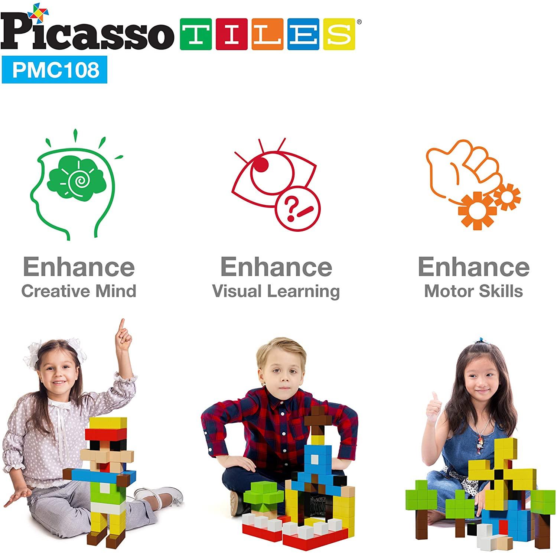 PicassoTiles, Set cuburi de puzzle magnetice 108 piese abilitati