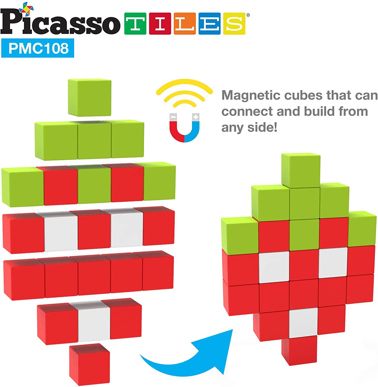 PicassoTiles, Set cuburi de puzzle magnetice 108 piese ansamblare