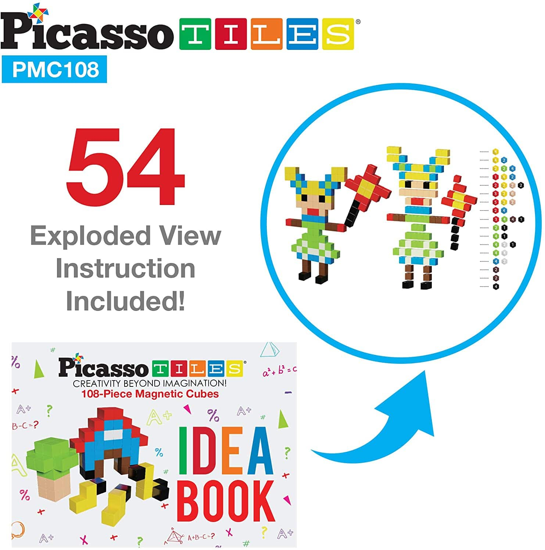 PicassoTiles, Set cuburi de puzzle magnetice 108 piese detalii