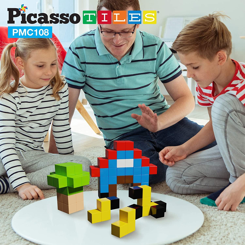 PicassoTiles, Set cuburi de puzzle magnetice 108 piese familie