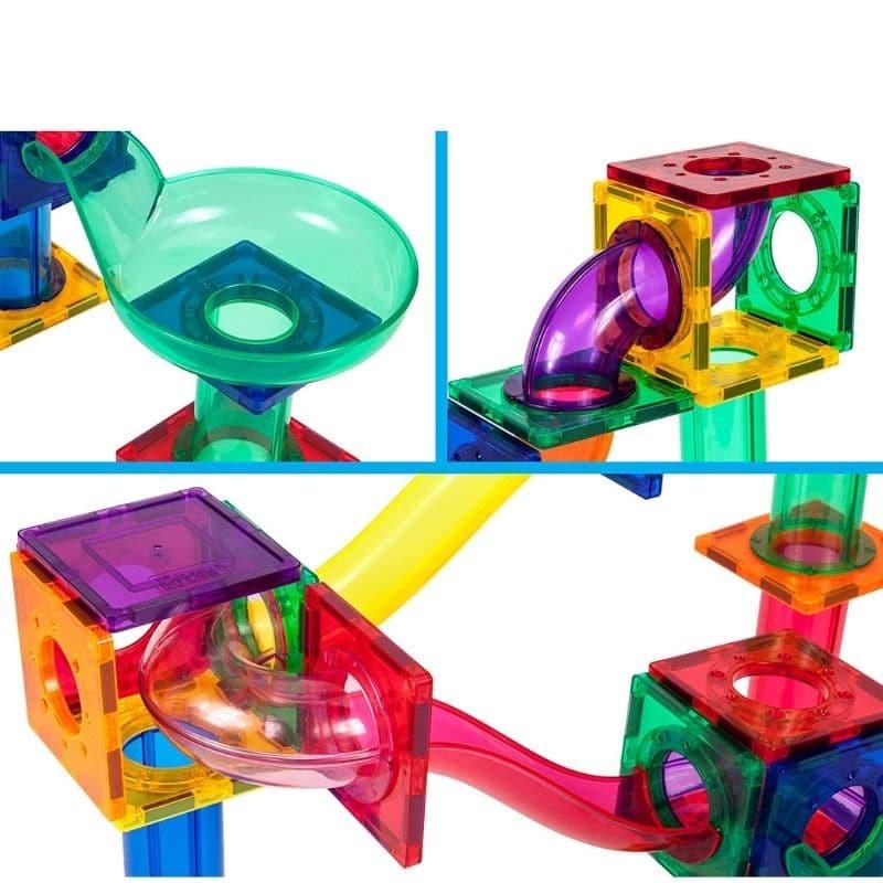 PicassoTile Traseu magnetic cu bile (Marble Run) 50 de piese detalii