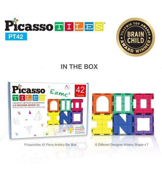 PicassoTiles,Set magnetic de construit de 42 de piese, 6 forme diferite cutie
