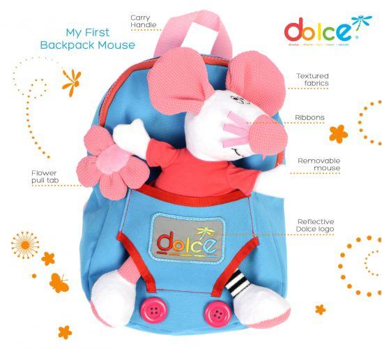 Rucsac copii, cu jucărie senzorială șoricel, Dolce elemente componente
