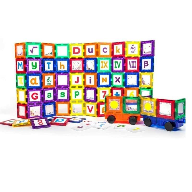 Set Magnetic de construit PicassoTiles 136 de piese, cu litere cifre si semne