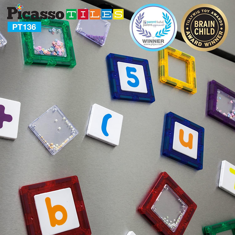 Set Magnetic de construit PicassoTiles 136 de piese, cu litere cifre si semne detalii