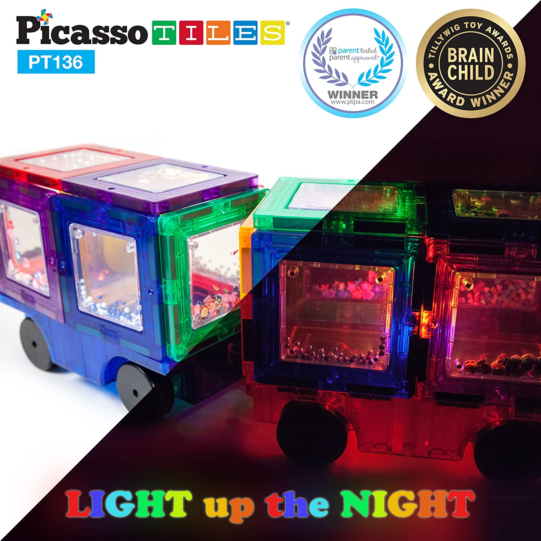 Set Magnetic de construit PicassoTiles 136 de piese, cu litere cifre si semne luminate
