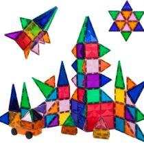 Set de construit Magnetic PicassoTiles 80 de piese cu o mașinuță, Similar cu MagnaTiles