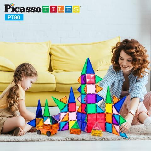 Set de construit Magnetic PicassoTiles 80 de piese cu o mașinuță mama cu copil