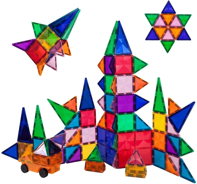 Set de construit Magnetic PicassoTiles 80 de piese cu o mașinuță