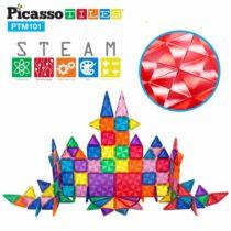 Set magnetic de construit PicassoTiles Mini Diamond 101 piese