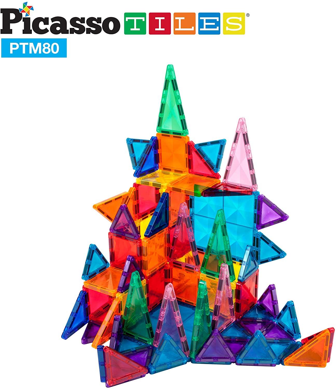 Set magnetic de construit PicassoTiles Mini Diamond 80 piese castel