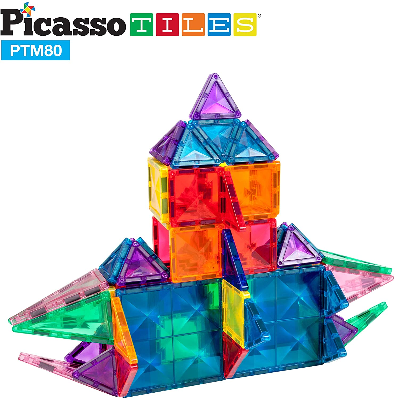 Set magnetic de construit PicassoTiles Mini Diamond 80 piese constructie