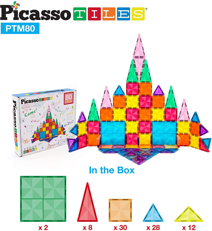 Set magnetic de construit PicassoTiles Mini Diamond 80 piese continut