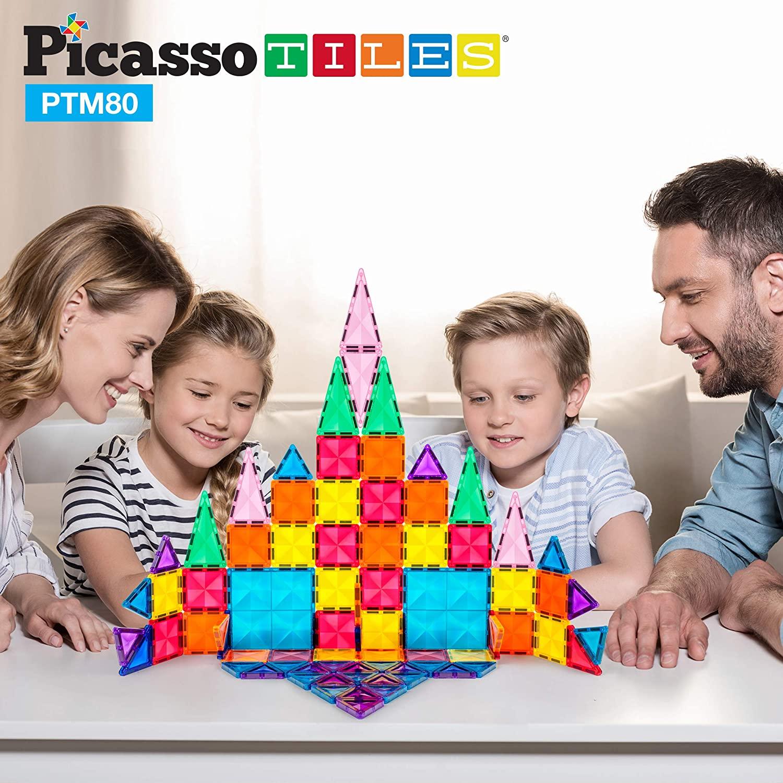 Set magnetic de construit PicassoTiles Mini Diamond 80 piese copii in familie
