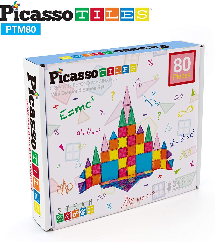 Set magnetic de construit PicassoTiles Mini Diamond 80 piese cutie