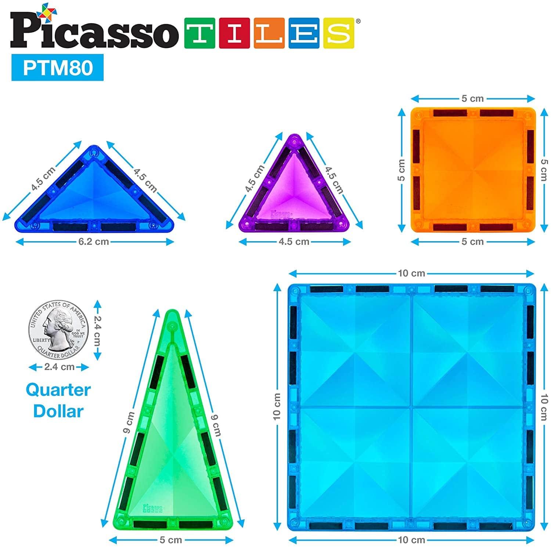 Set magnetic de construit PicassoTiles Mini Diamond 80 piese dimensiuni